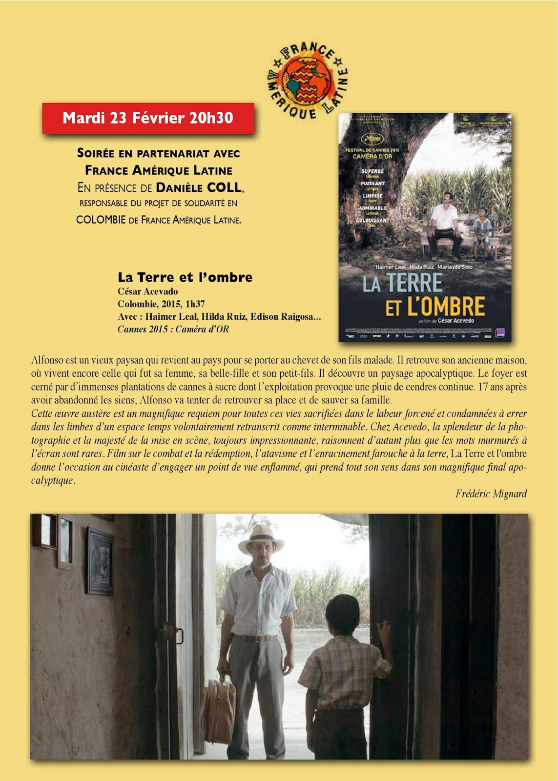 « La terre et l'ombre », film colombien: projection-débat à Martigues 13