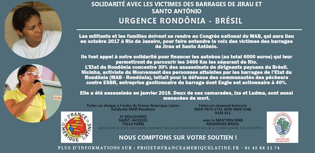 MAB Rondônia – Campagne de financement et solidarité avec les victimes des barrages