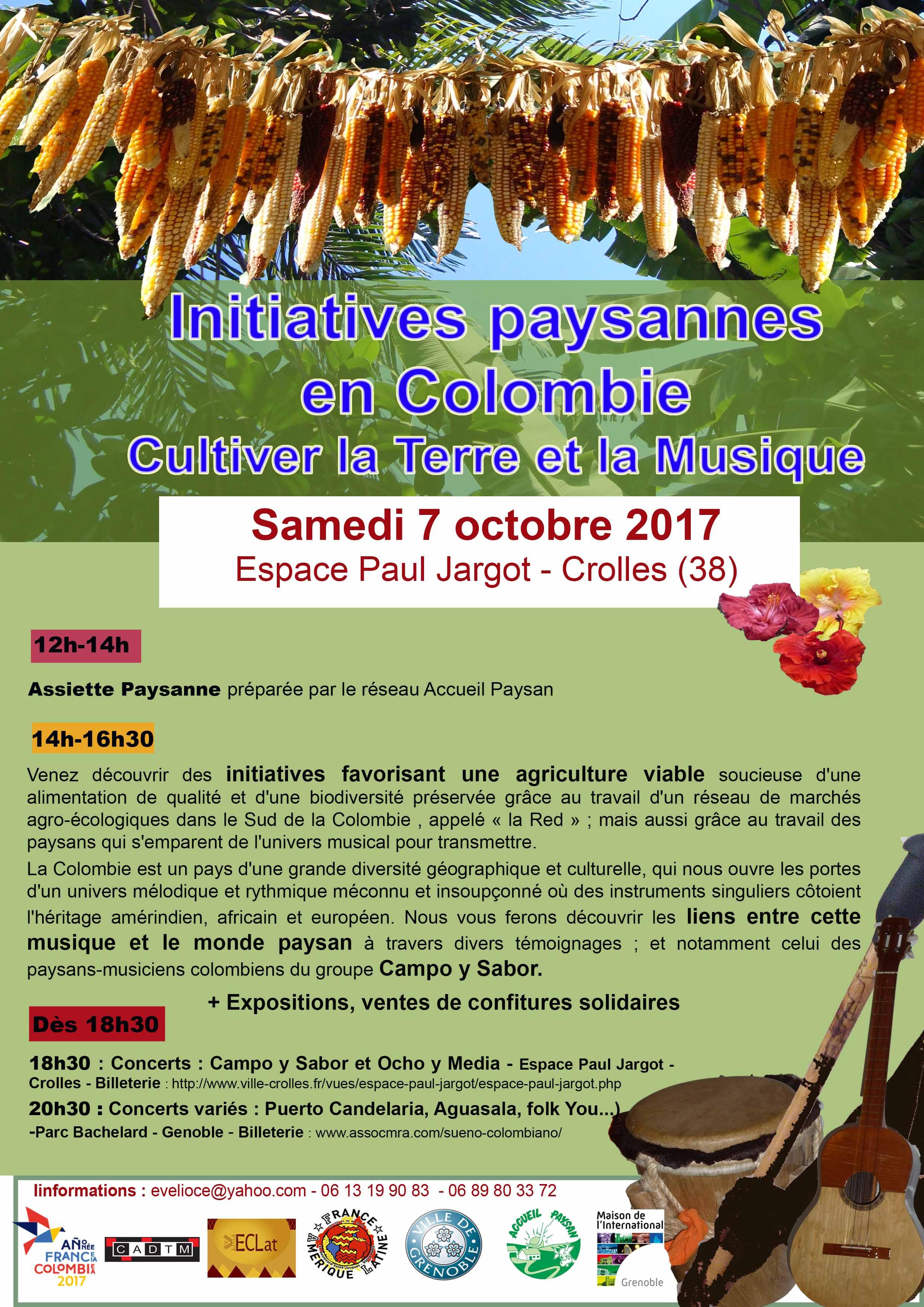 Grenoble 7 octobre 2017 – Initiatives paysannes en Colombie