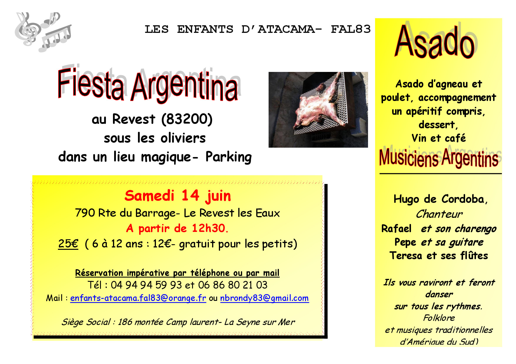 """FAL 83 et l'association """"Les enfants d'Atacama"""" vous invite à un Asado argentin !"""