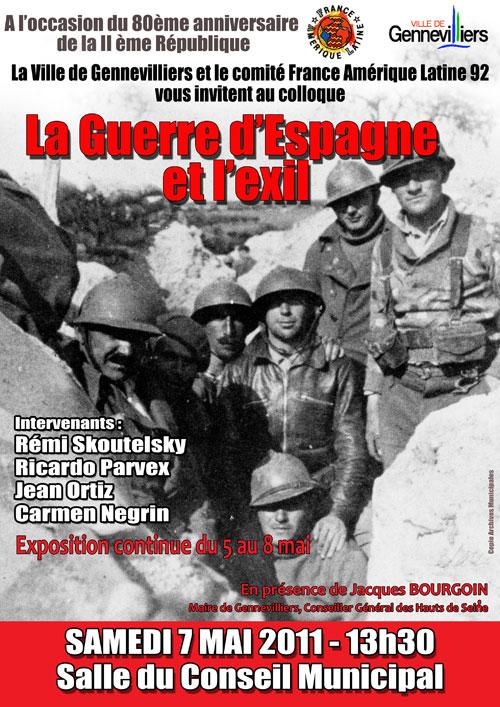 Expo, Film, colloque sur la guerre d'Espagne organisés par Gennevilliers