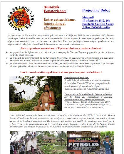 FAL Marseille : Projection débat le 19 décembre : Amazonie équatorienne : entre extractivisme, innovations et résistances