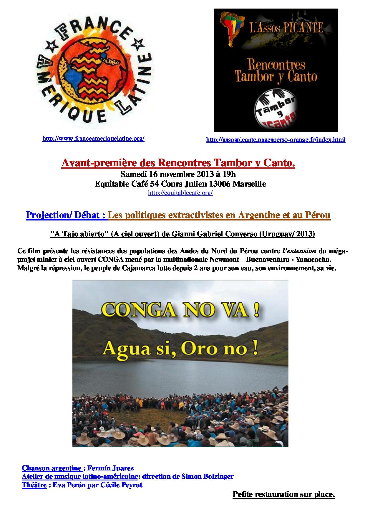 Marseille : Projection/débat ; les politiques extractivistes en Argentine et au Pérou