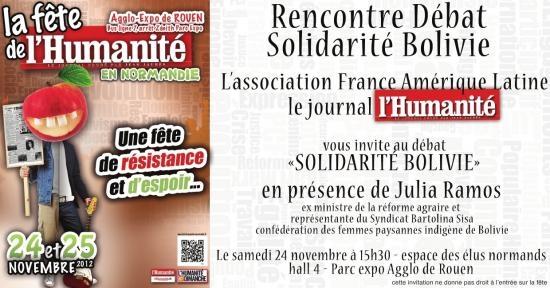 Comité de SER : Solidarité Bolivie à la Fête de l'Humanité de Rouen