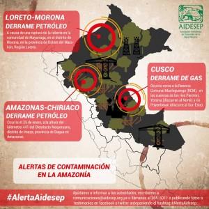 Carte des récents désastres écologiques au Pérou. Source: AIDESEP (Asociación Interétnica de Desarrollo de la Selva Peruana)
