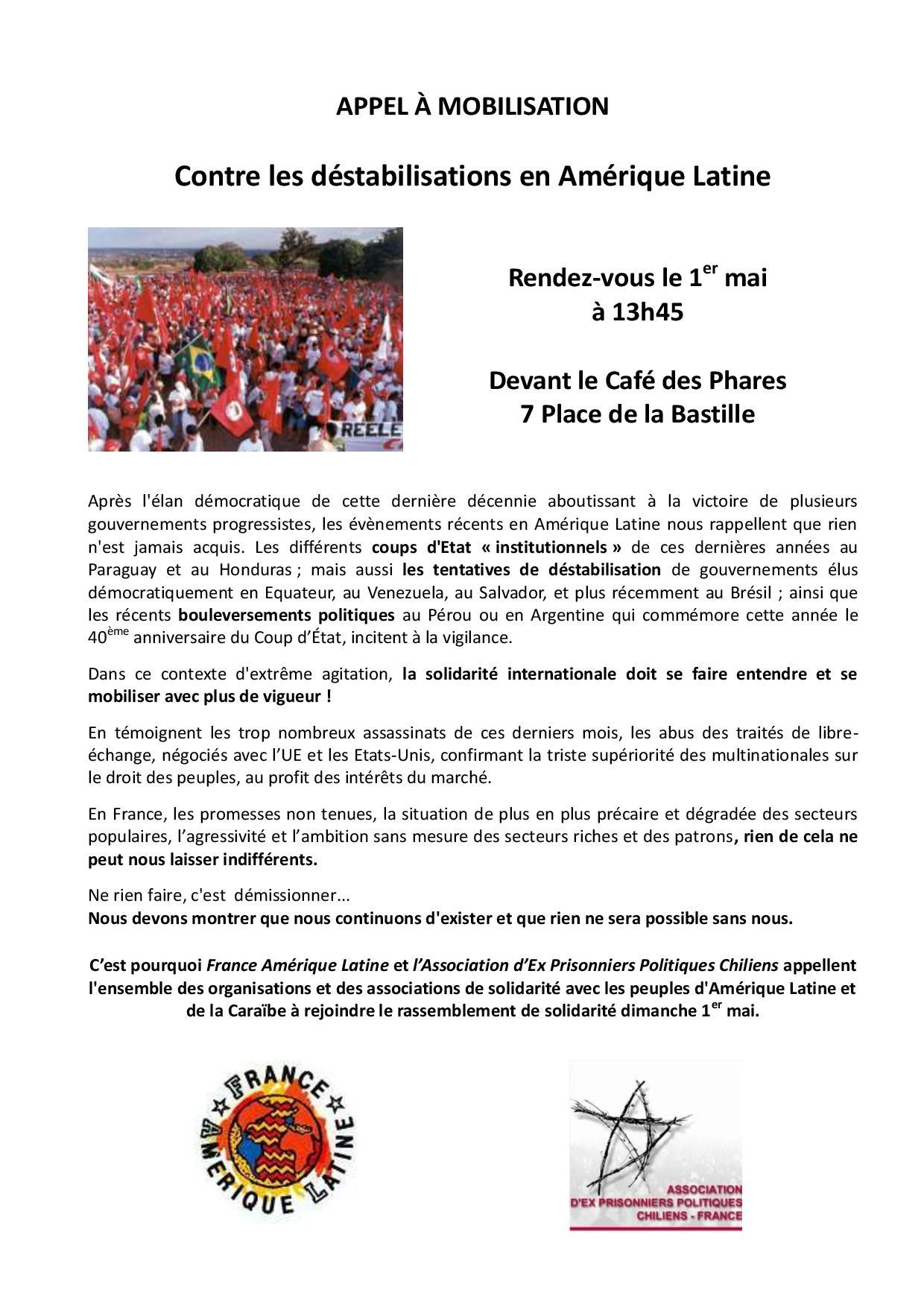 Appel à mobilisation du 1er mai : Contre les déstabilisations en Amérique Latine