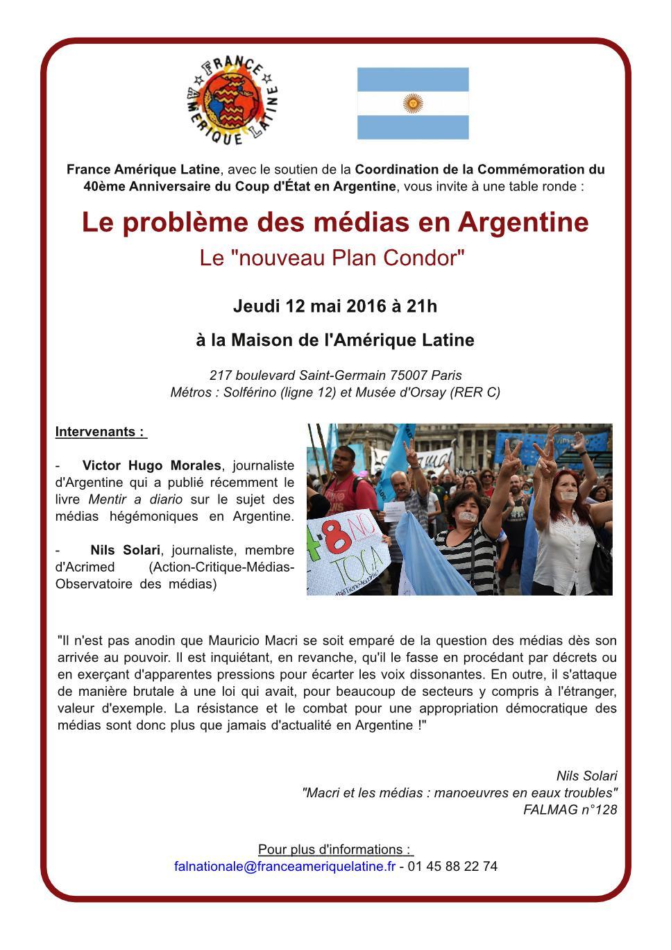 Conférence du 12 mai à 21h : le problème des médias en Argentine