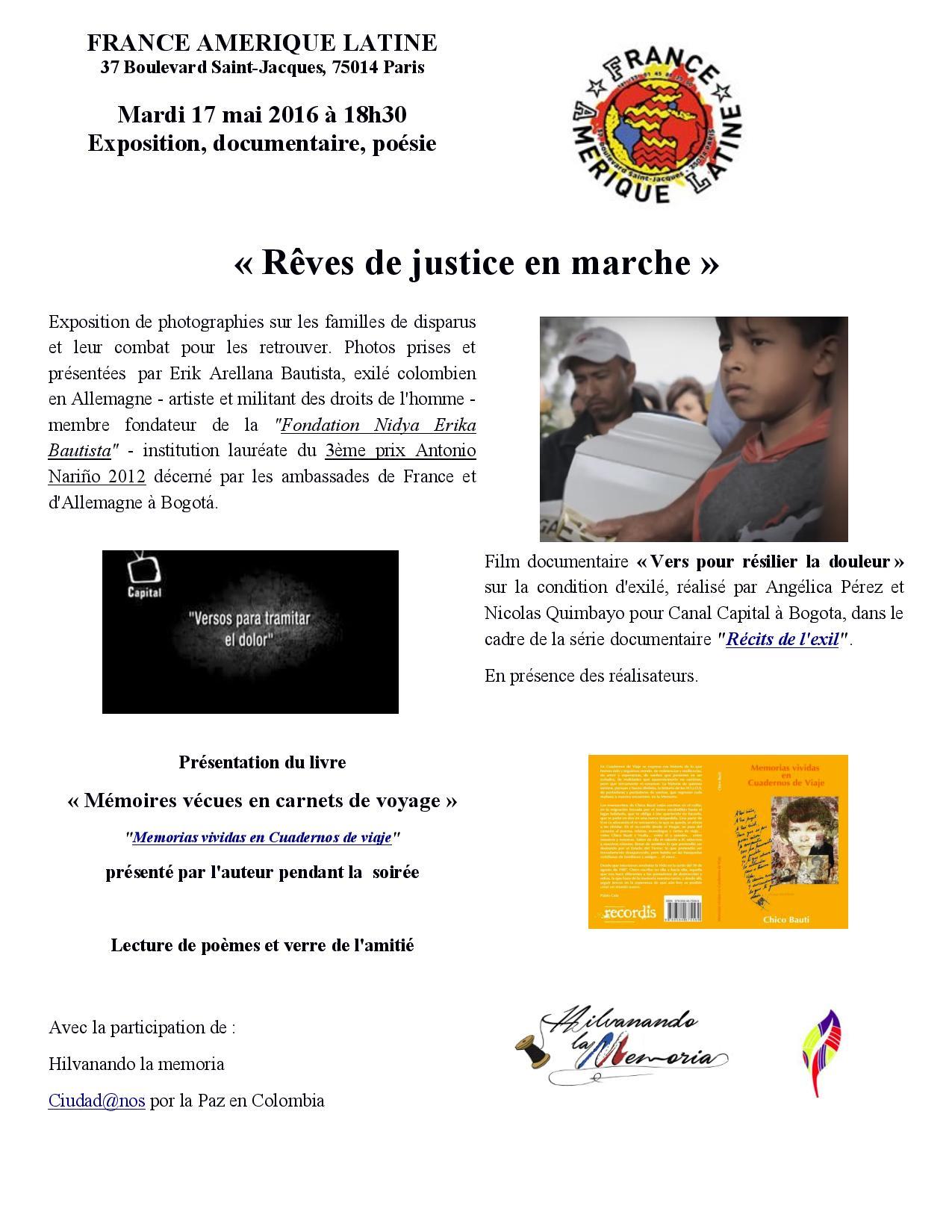 """Colombie : """"rêves de justice en marche"""" 17-19 mai à Paris"""