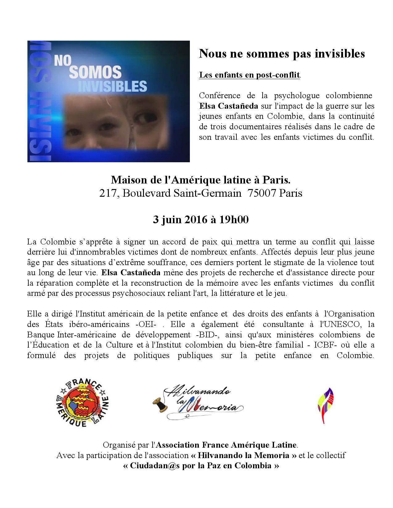 Conférence 3 juin à 19h – Les enfants en Colombie post-conflit : nous ne sommes pas invisibles