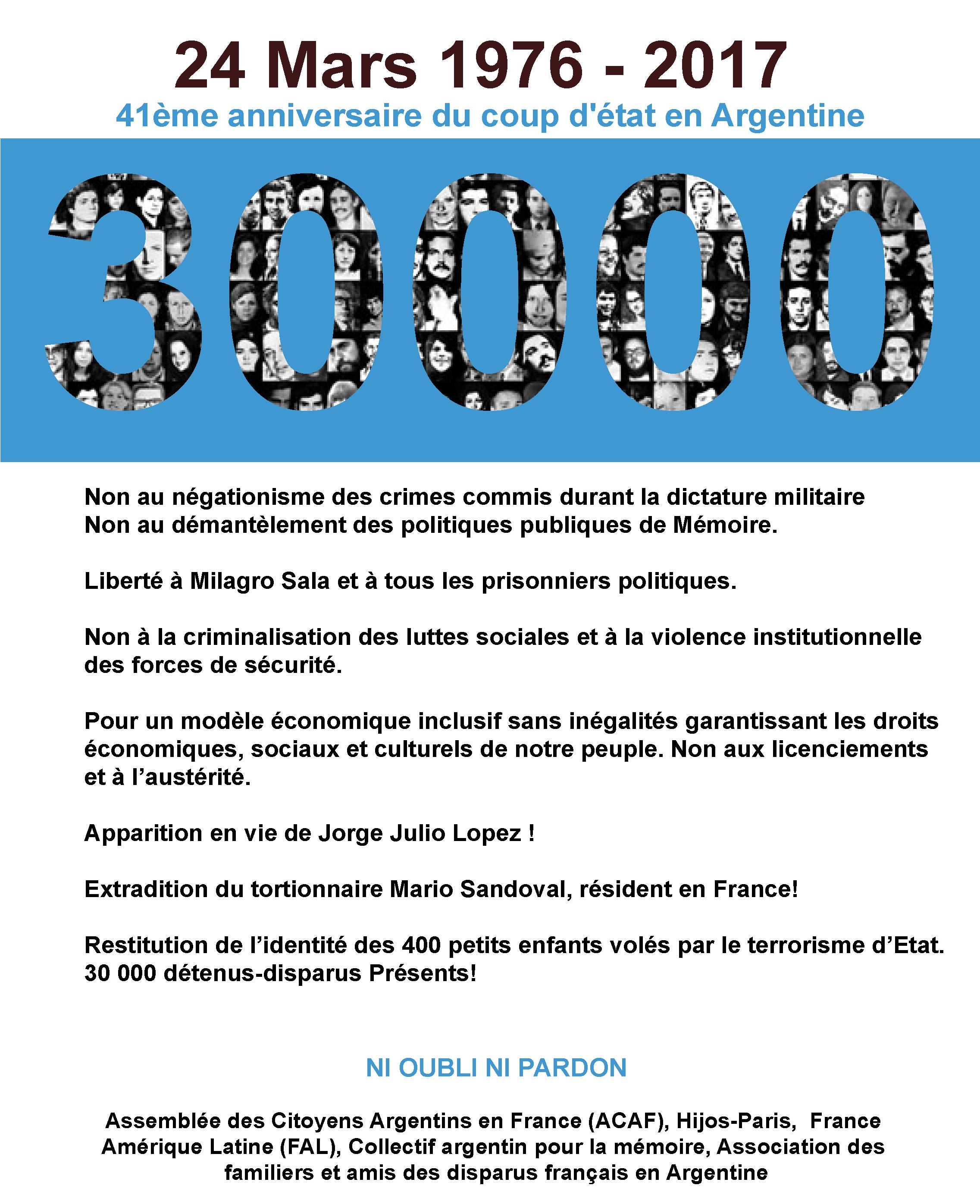 Communiqué de l'Assemblée des Citoyens Argentins de France: Mémoire et sens de l'histoire 41 ans après le coup d'Etat