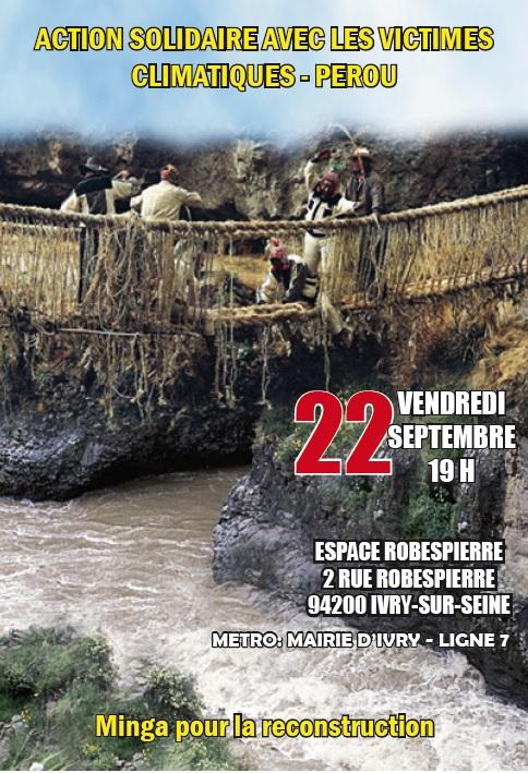 Le 22 septembre à Paris: Action solidaire avec les victimes climatiques au Pérou- Minga pour la reconstruction