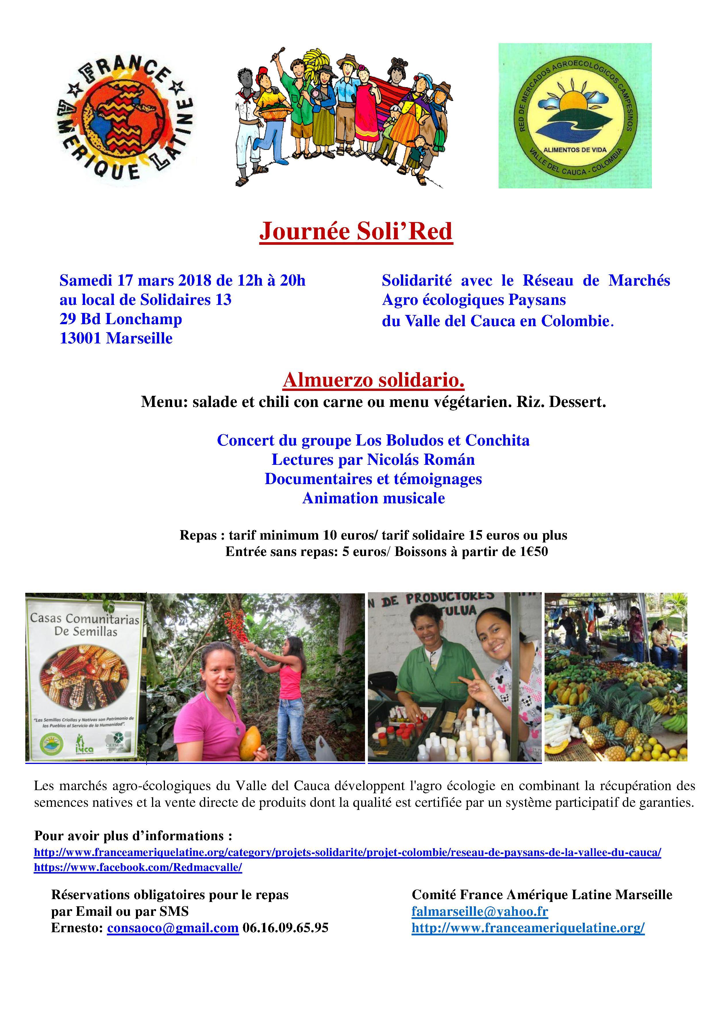 FAL Marseille/ Réseau des paysans de la Vallée du Cauca : almuerzo solidario le samedi 17 mars