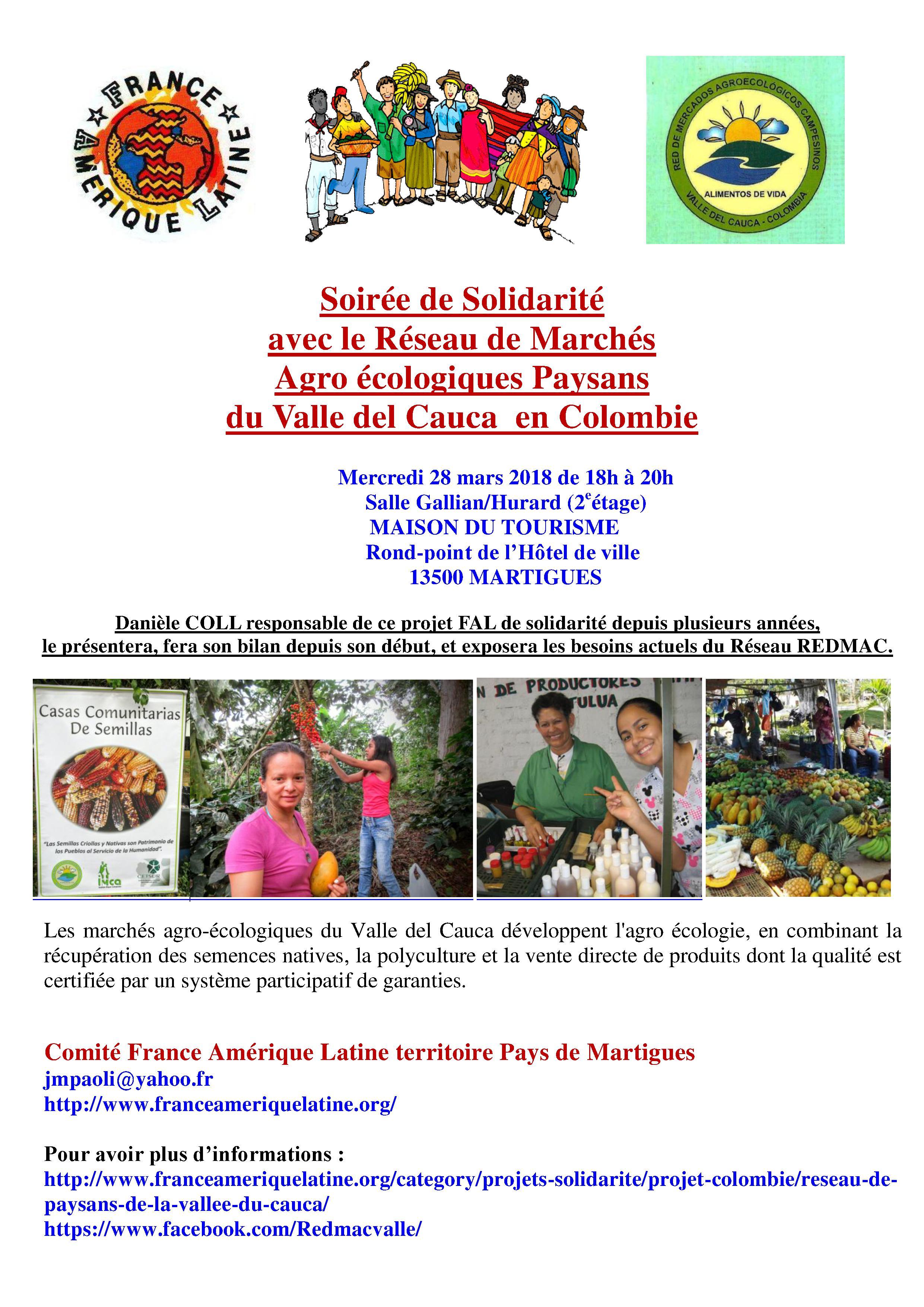 Soirée de Solidarité  avec le Réseau de marchés agro-écologiques paysans  du Valle del Cauca  en Colombie à Martigues