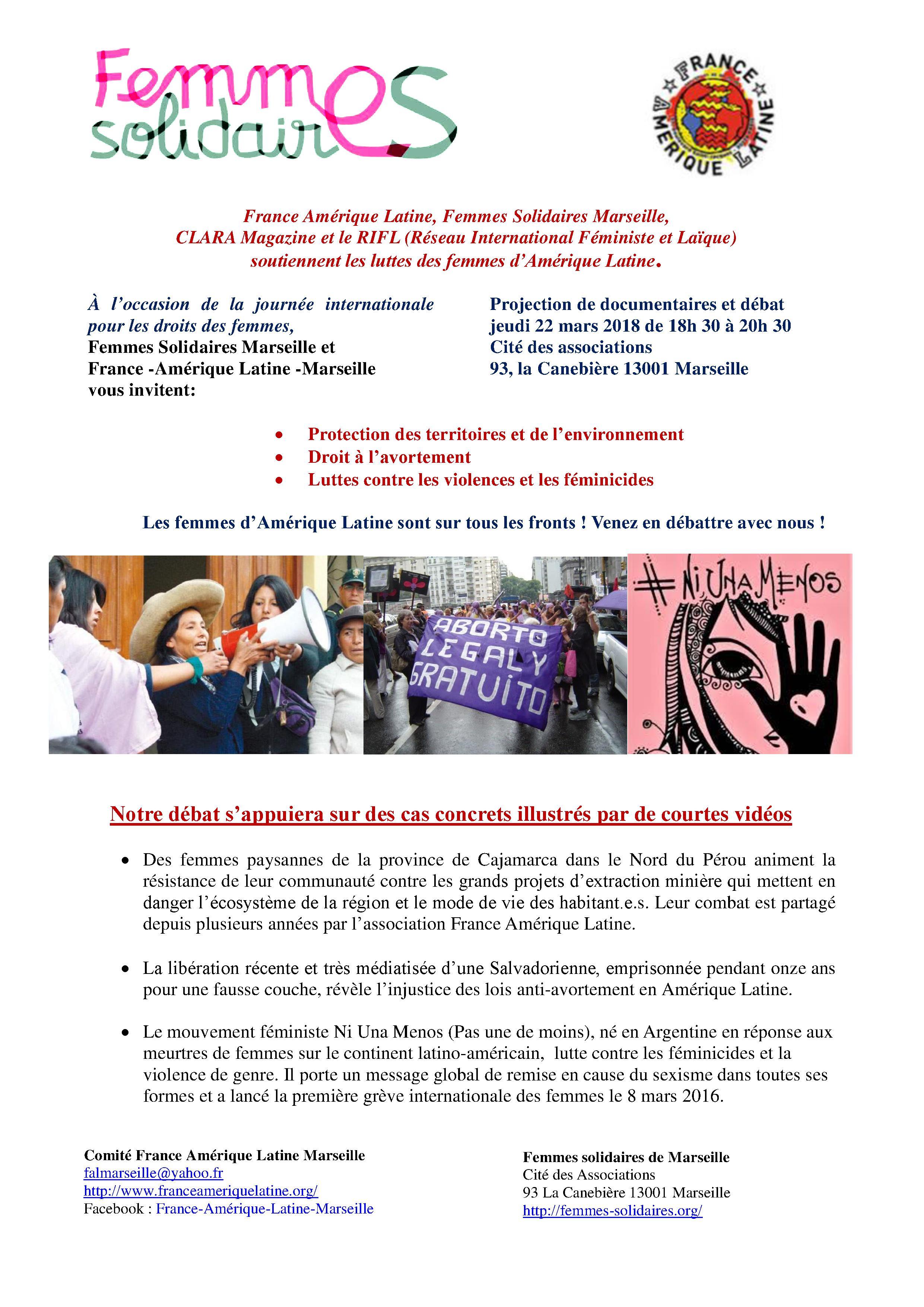 Femmes Solidaires Marseille et  FAL-Marseille: projection-débat sur les luttes des femmes latino-américaines: jeudi 22 mars 2018 18h 30 Cité des associations