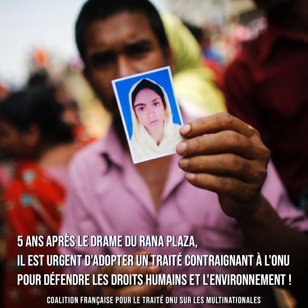 Cinq ans après le Rana Plaza, il faut un Traité ONU contraignant les entreprises au respect des droits humains et de l'environnement