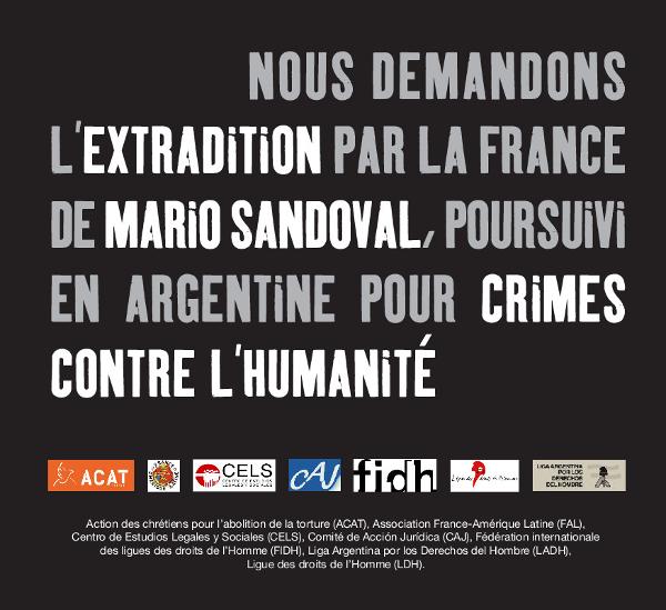 Communiqué/ Crimes contre l'humanité : la justice française doit extrader l'ex-policier argentin Mario Sandoval