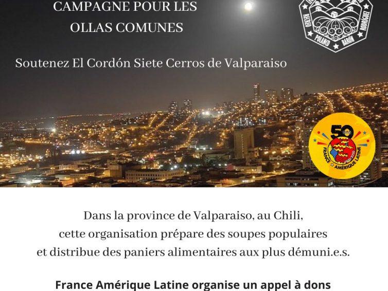 Campagne de donspour les «ollas comunes» (soupes populaires) de Valparaíso au Chili