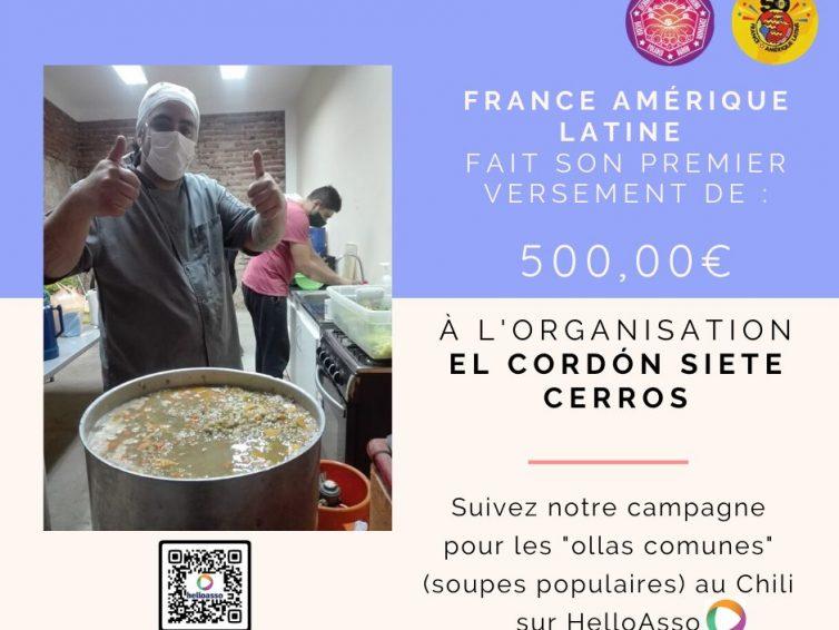 Premier versement des dons pour la campagne des Ollas Comunes (soupes populaires) à Valparaiso, au Chili