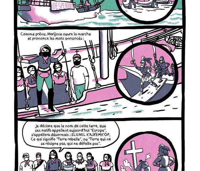 Bande dessinée sur la venue des zapatistes en Europe (Le voyage pour la vie / Lisa Lugrin – Club Médiapart)