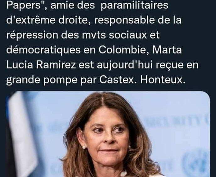 La visite de Marta Lucía Ramírez à Matignon indigne la gauche française(revue de presse)